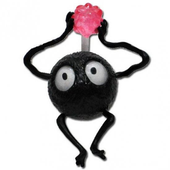 1 left - Pin Broach - Susuwatari with Konpeito - pink - Spirited Away - 2010 - no production (new)