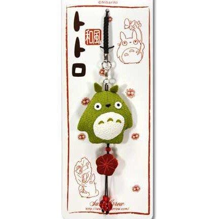 Strap Holder & Hook - Japanese Chirimen / Crape - Bell - green - Totoro - Ghibli - 2010 (new)