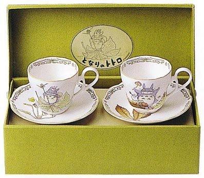 2 Cup & 2 Saucer - Pair Set - Bone China - Noritake - Totoro - Ghibli (new)