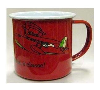 SOLD - Mug Cup - Enamel - Porco & Airplane / Savoia - Ghibli - out of production (new)
