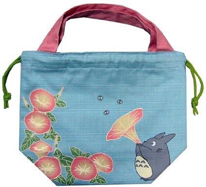 SOLD - Kinchaku Bag - morning glory - Totoro & Sho & Kurosuke - Ghibli - out of production (new)
