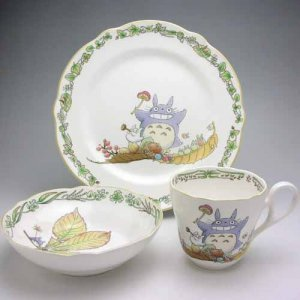 1 left - 3 Piece Set - Cup & Plate M & Bowl S - Bone China - Noritake - Totoro - no production (new)