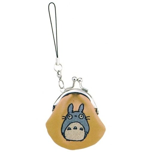 Mini Purse Gamaguchi - Totoro Embroidered - Hook & Strap Holder - Synthetic Leather - Ghibli - 2011 (new)
