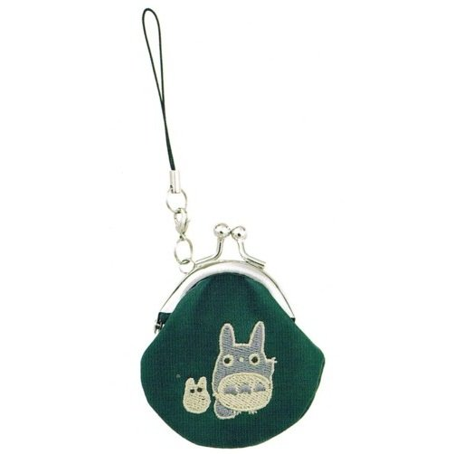 Mini Purse Gamaguchi - Totoro & Sho Embroidered - Hook & Strap Holder - Synthetic Leather - 2011 (new)
