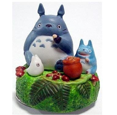Music Box - Rotary - Porcelain - oshokuji -  Totoro & Chu & Sho - out of production (new)