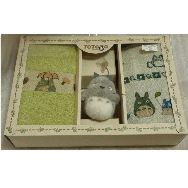 SOLD - 2 Hand Towel & Totoro Mascot with Sucking Disc - Gift Set - out of production (new)
