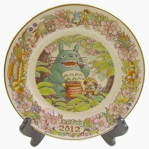 1 left - Yearly Plate 2012 - Wooden Stand - Bone China - Noritake - Totoro Mononoke Spirited (new)
