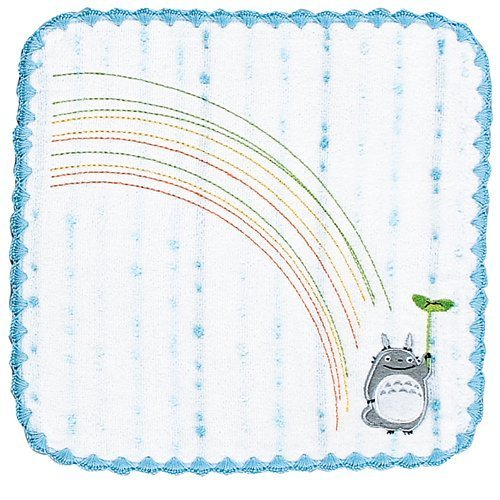 Mini Towel - Non-Twisted Thread - Totoro Applique - rainbow - blue - Ghibli - 2007 (new)