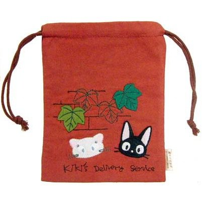 Kinchaku Bag -red- Applique Embroidery- Jiji Lily - Kiki's Delivery Service -2011-no production(new)