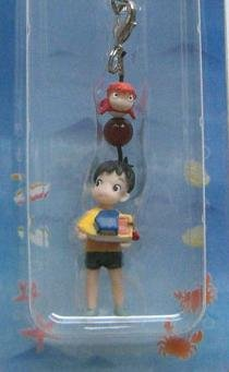 8 left - Hook & Strap Holder - Red Agate - Ponyo Fish & Sousuke - Ghibli - out of production (new)