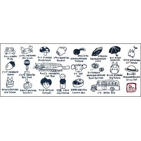 Towel Tenugui 33x90cm- Dyed- English Japanese - made Japan - Totoro 2013 no production (new)