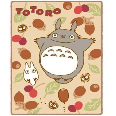 Blanket (L) - 140x200cm - Microfiber - Polyester Coral Meyer - acorn - Totoro - Ghibli - 2013 (new)