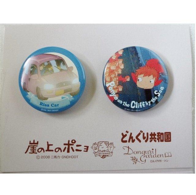 3 left - 2 Tin Badge - made in Japan - Ponyo & Risa Car - Ghibli - 2009 (new)