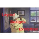 1 left - Postcard - Layout Designs Exhibition - Porco Rosso - Ghibli - no production (new)