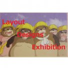 1 left - Postcard - Layout Designs Exhibition - Ponpoko - Ghibli - no production (new)