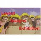 1 left - Postcard - Layout Designs Exhibition - Ponpoko - Ghibli - no production (new)