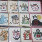 1 left - 12 Coaster Set - Chenille Weaving - Totoro - Ghibli Museum Paper Bag & Card & Sticker (new)