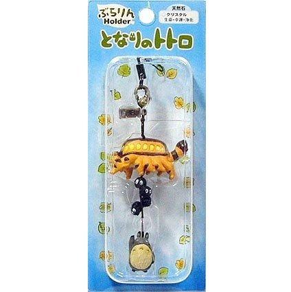 1 left - Hook & Strap Holder - Natural Crystal - Totoro & Nekobus & Kurosuke - out of production (new)