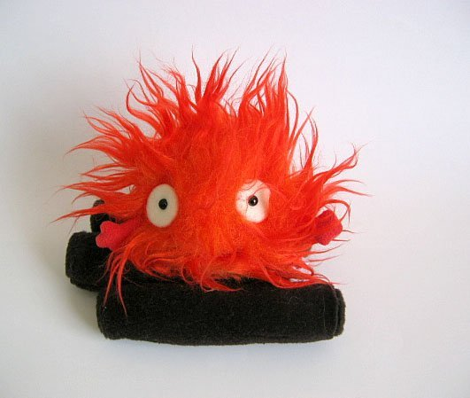 3 left- Plush Doll (S) - Calcifer on Log -Red- Howl's Moving Castle - Sun Arrow -no production (new)