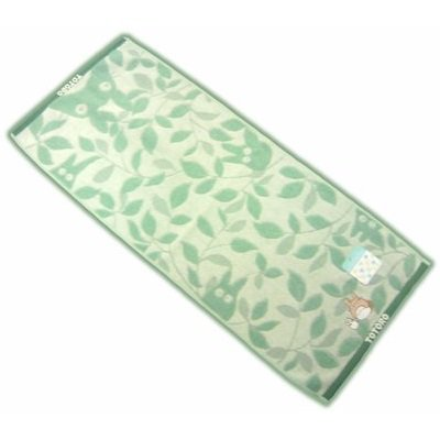 1 left - Face Towel - Totoro & Sho Embroidered - leaf - green - 2008 - out of production (new)