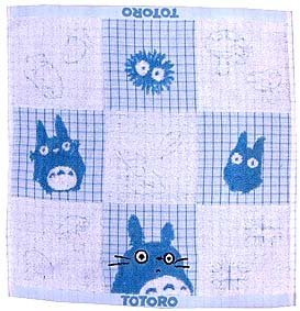 1 left - Hand Towel - Non Twisted & Jacquard Weaving - blue - Totoro - no production (new)
