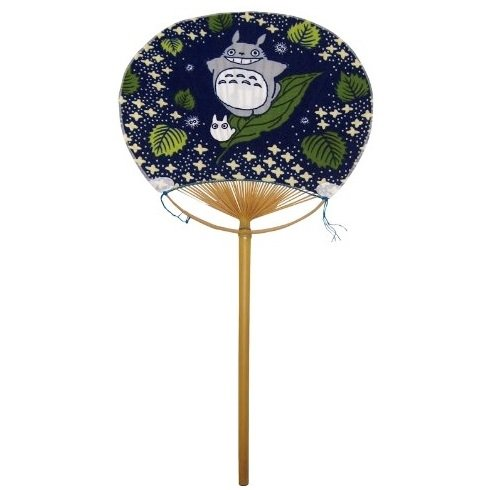 Fan / Uchiwa - Long - Bamboo & Cloth - Ensky - Totoro - Ghibli - 2014 (new)