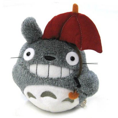 Fluffy Plush Doll (S) - H16cm - Smile - Umbrella - Totoro - Ghibli - Sun Arrow - 2014 (new)