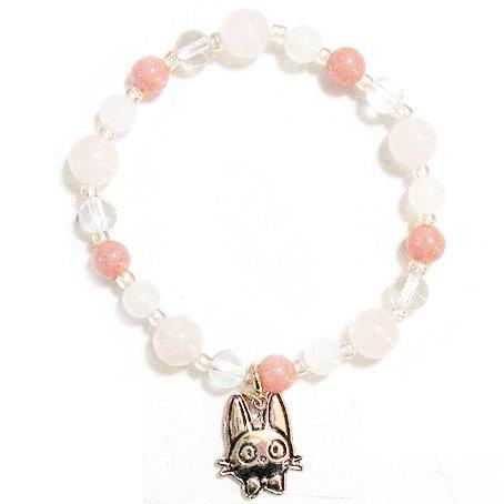 Bracelet -4 Natural Stone RoseQuartz PeachPink Quartzite Crystal- Kiki's Delivery Service -2015(new)