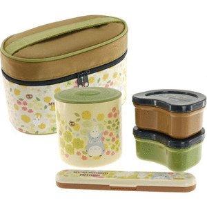 2 Bento Lunch Box & Thermal Jar & Fork - Case - Totoro - Ghibli - 2014 (new)