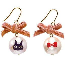 Pierced Earrings -Cotton Pearl -Pink Ribbon- made Japan - Jiji - Kiki's Delivery Service -2015(new)