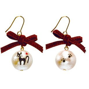 Pierced Earrings -Cotton Pearl Red Ribbon- made in Japan - Jiji - Kiki's Delivery Service -2015(new)