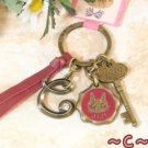 RARE - Key Ring - Alphabet C - 3 Charms Colored Stone - Kiki's Delivery Service 2015 no production