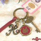 Key Ring - Alphabet H - 3 Charm - Colored Stone - Kiki's Delivery Service -2015- no production (new)
