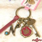 Key Ring - Alphabet N - 3 Charm - Colored Stone - Kiki's Delivery Service -2015- no production (new)