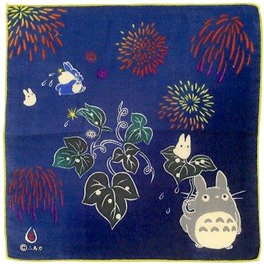 Handkerchief - 29x29cm - 2 Layer Gauze - Fireworks - made in Japan - Totoro - Ghibli - 2016 (new)