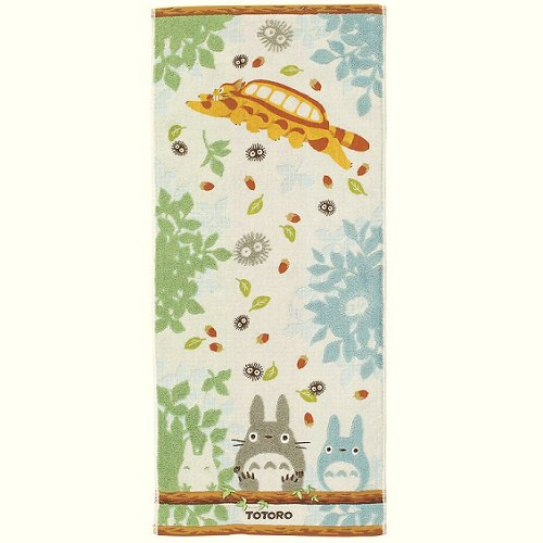 Face Towel - 34x80cm - Steam Shirring - Embroidery - Nekobus - Totoro - Ghibli - 2014 (new)