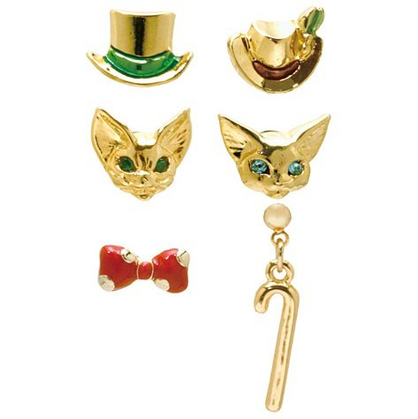 6 Pierced Earrings Set - Swarovski - Baron & Louis - Whisper of the Heart - Ghibli - 2016 (new)