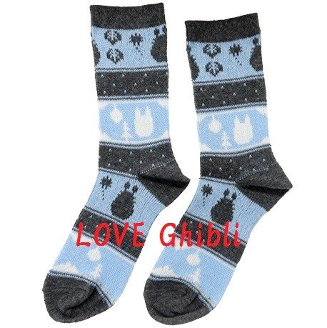 Socks - 23-25cm / 9-9.8in - Middle Length - Jacquard Weaving - Navy - Totoro - Ghibli - 2016 (new)