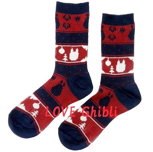 Socks - 23-25cm / 9-9.8in - Middle Length - Jacquard Weaving - Red - Totoro - Ghibli - 2016 (new)