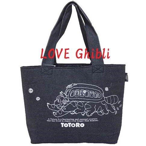 Lunch Bento Tote Bag -40x26cm- Denim - Made in Japan - Nekobus Catbus - Totoro - Ghibli - 2016 (new)