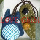1 left - 2 Strap Holder - Mascot - Chu Totoro & Kurosuke on Leaf with Pumpkin - no production (new)