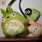 1 left - 2 Strap Holder - Mascot - Chirimen Crape - Totoro & Sho Totoro & Kurosuke - no production (new)