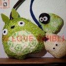 1 left - 2 Strap Holder - Mascot - Chirimen Crape - Totoro & Sho Totoro & Kurosuke - no production (new)