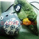 1 left - 2 Strap Holder - Mascot - Totoro & Kurosuke on Leaf with Pumpkin - no production (new)