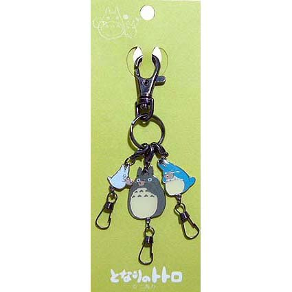 1 Key Holder & 3 Hook - Totoro & Chu & Sho Totoro playing Ocarina - Ghibli - 2008 (new)