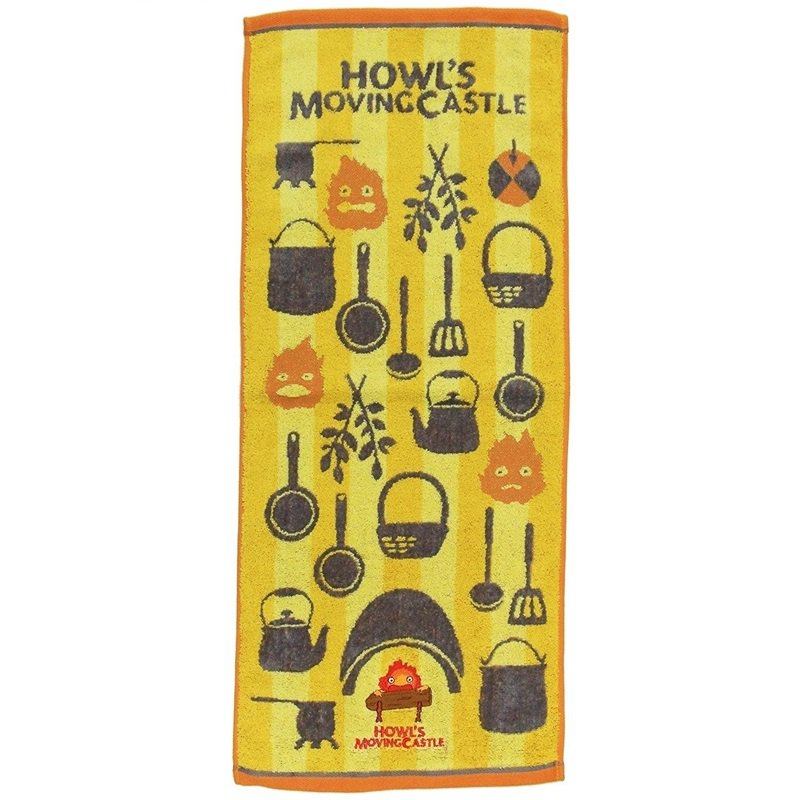 Face Towel - 34x80cm - Jacquard Embroidery - Calcifer - Howl's Moving Castle - Ghibli - 2017 (new)