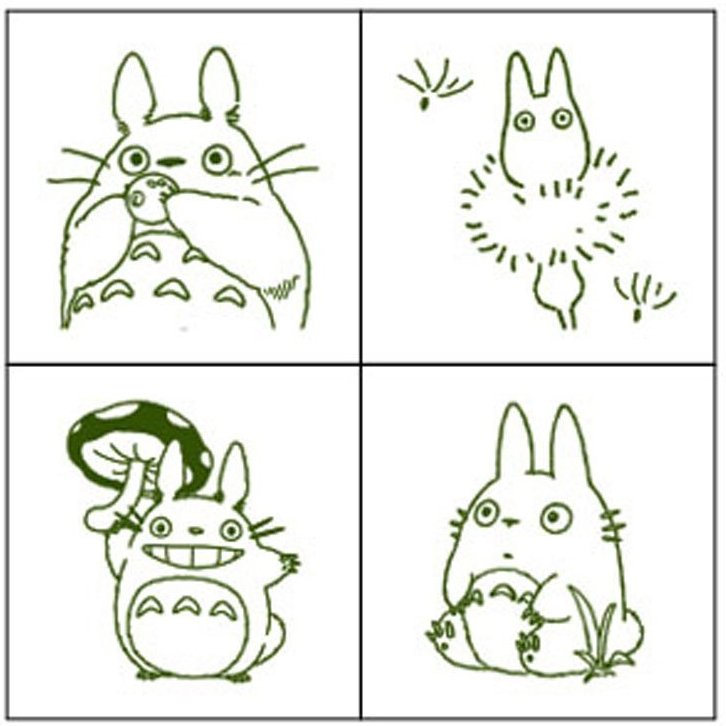 4 Rubber Stamps & Ink Pad Set 6 - Ink Color Olive Green - Made in Japan - Totoro - Ghibli 2016
