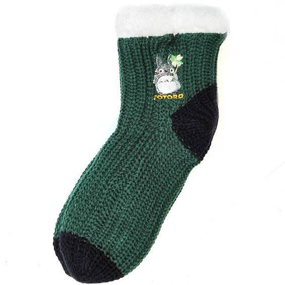 Socks - 23-24cm - Thick - Double Knit - Embroidery - Green - Totoro - Ghibli - 2017 (new)