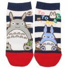 Socks - 23-25cm - 2 Different Designs - Short - Navy Stripe Red - Totoro - Ghibli - 2015 (new)