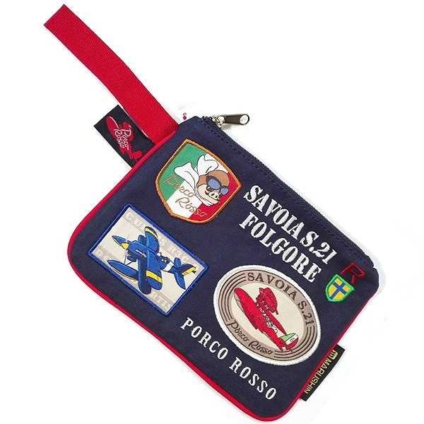 Pouch Bag - Cotton - Patch / Wappen & Embroidery - Porco Rosso - Ghibli - 2015 (new)